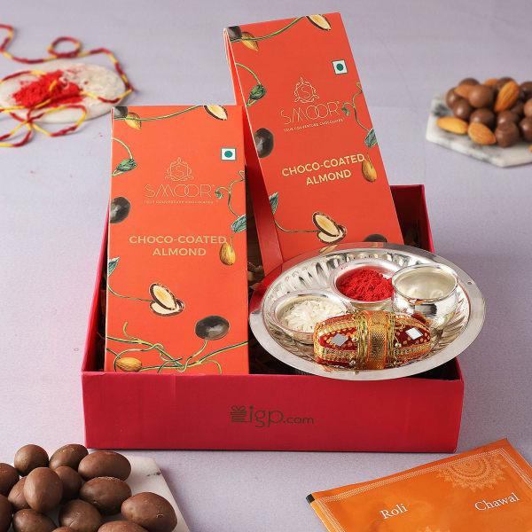 Bhai Dooj Gift Tray With Choco Almonds