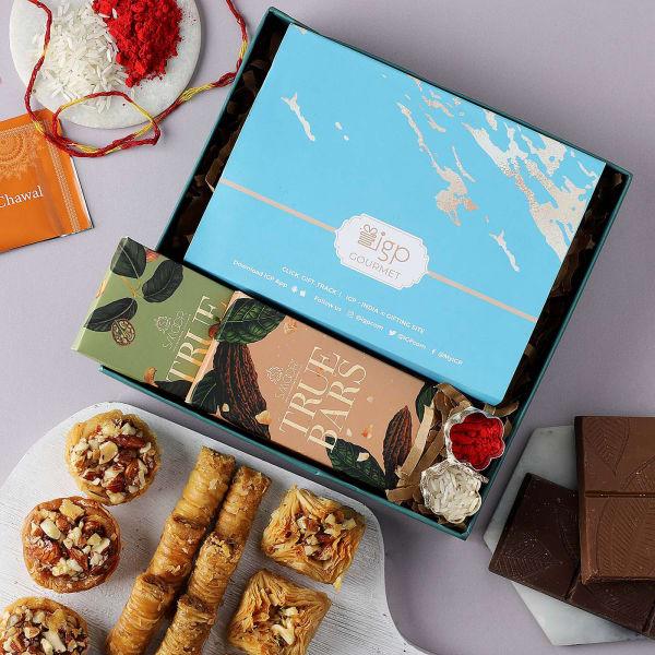 Bhai Dooj Gift Tray With Chocolates And Baklava