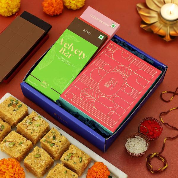 Bhai Dooj Gift Tray With Chocolates And Soan Papdi