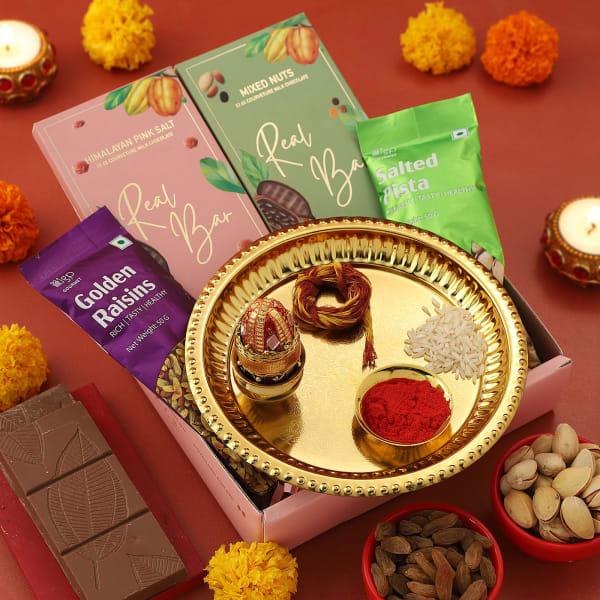 Bhai Dooj Gift Tray With Dry Fruits And Chocolates
