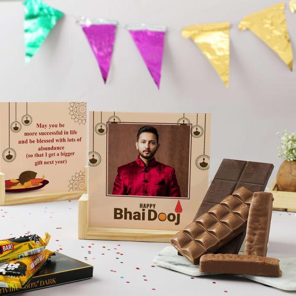 Bhai Dooj Personalized Wooden Sandwich Frame With Treats