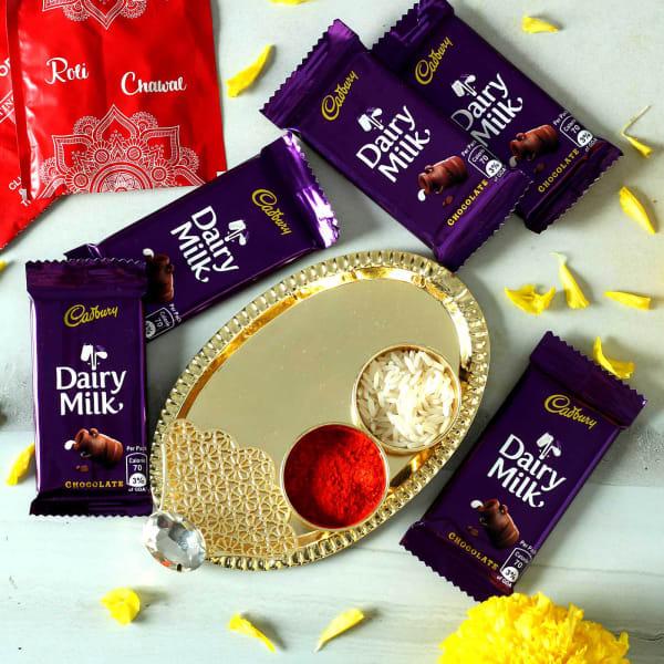 Bhai Dooj Tikka Thali with Cadbury Chocolates Hamper
