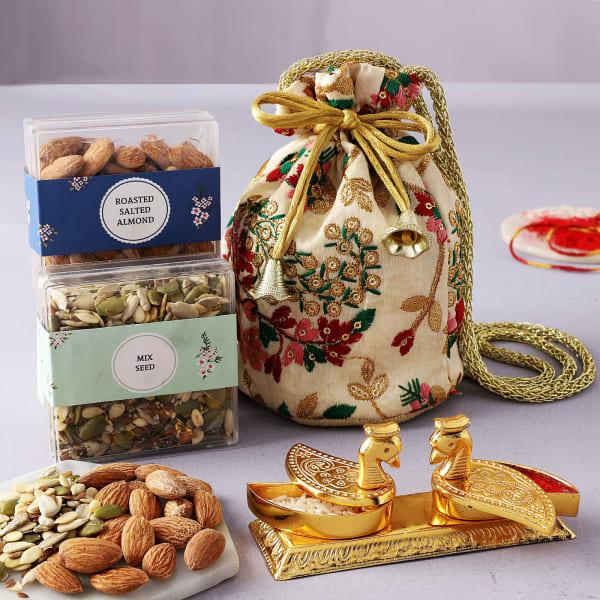 Bhai Dooj Tilak Set With Snacks In Potli