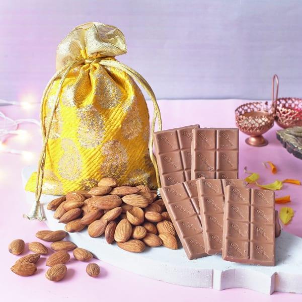 Bhaidooj Card With Roli Chawal & Cadbury Dairy Milk Chocolate