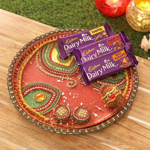 Bhaidooj Tikka Thali with 3 Dairy Milk Chocolates