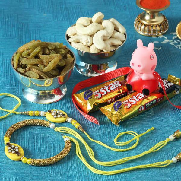 Bhaiya Bhabhi & Kid's Rakhi with Chocolates & Dry Fruits
