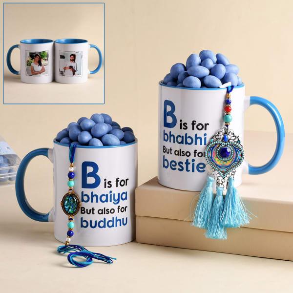 Bhaiya Bhabhi Rakhi With Personalized Mugs And Dragees