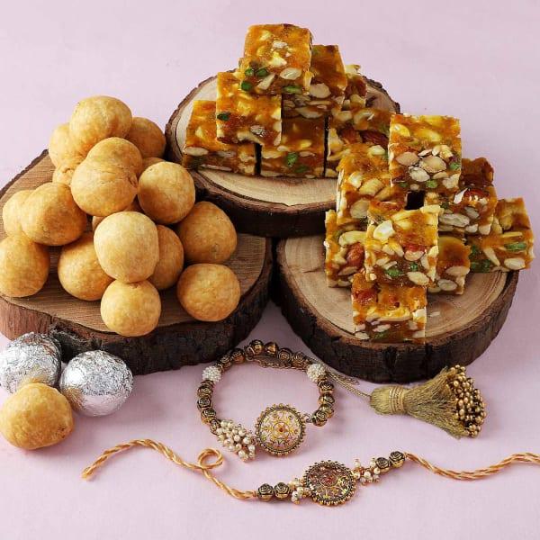 Bhaiya Bhabhi Rakhis With Sugar Free Bites and Kachori