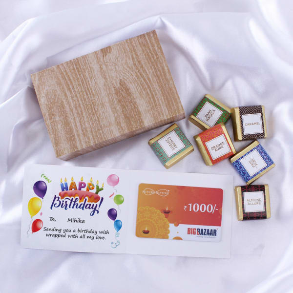 Big Bazaar Personalized Birthday Gift Card With Chocolates 1000