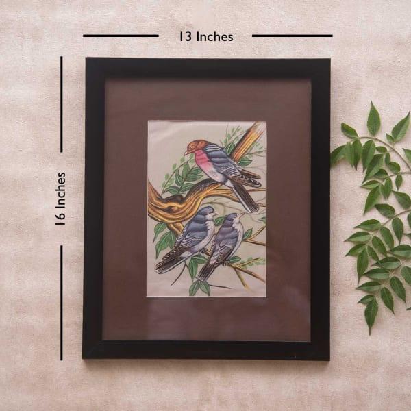 Bird Family Framed Silk Painting