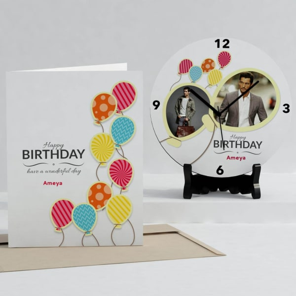 Birthday Balloons Personalized Clock Card Combo