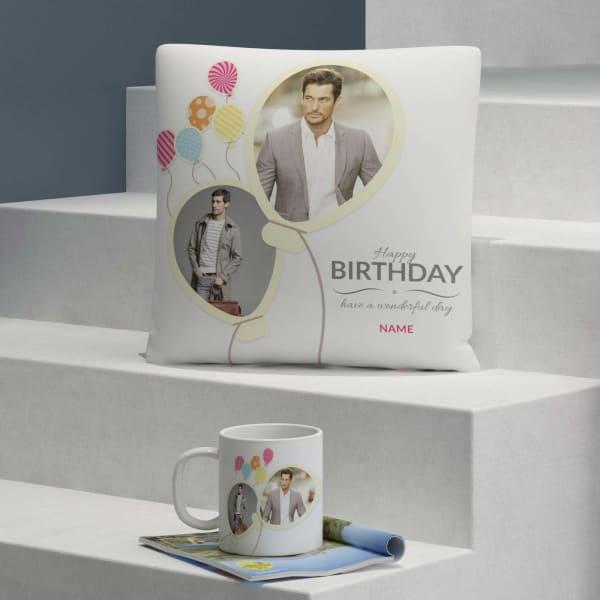 Birthday Balloons Personalized Cushion & Mug