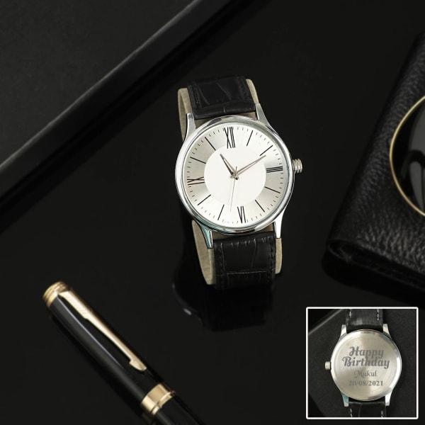Birthday Personalized Black Leather Watch