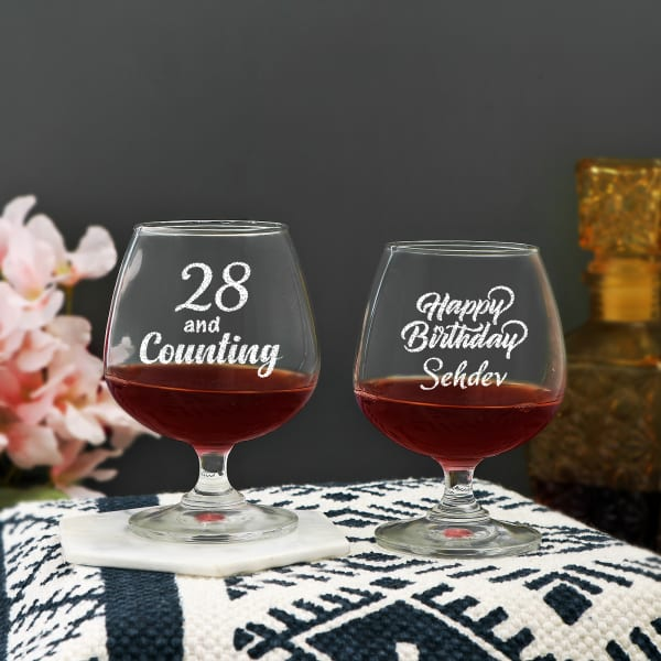 Birthday Personalized Brandy Glasses (Set of 2)