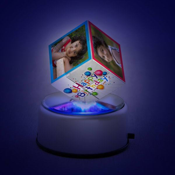 Birthday Personalized Rotating Crystal Cube with LED