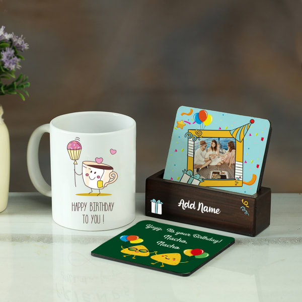 Birthday Themed Personalized Mug & Tea Coaster Set