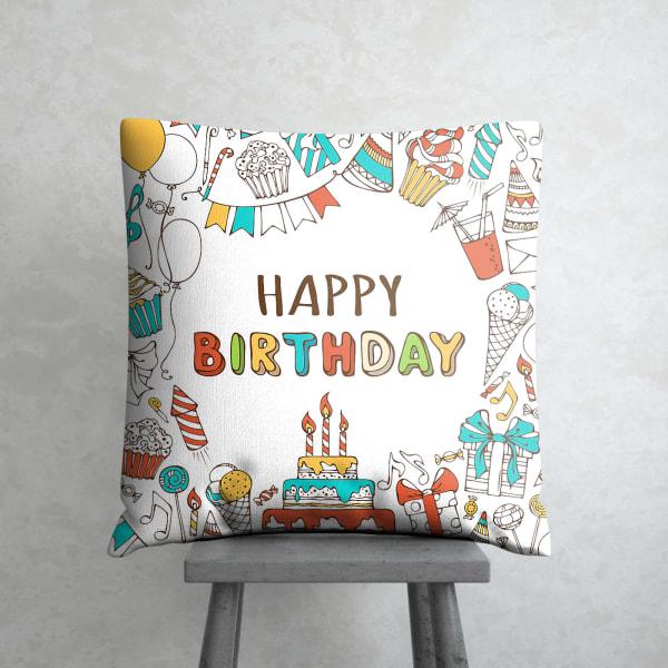Birthday Wishes White Satin Cushion