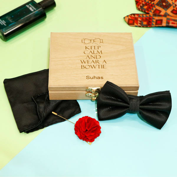 Black Bow Tie & Pocket Square in Personalized Wooden Box