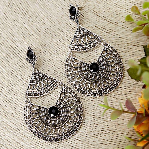 Black Metallic Earrings