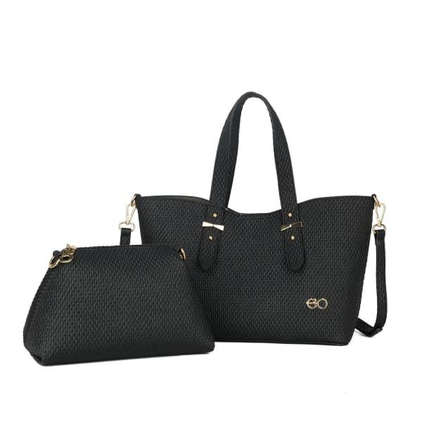 Black Sling Bag And Satchel Set For Women