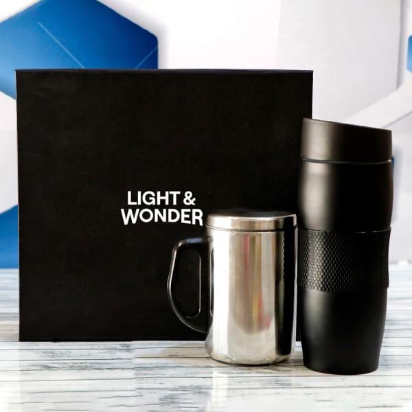 Black Tumbler With Coffee Mug