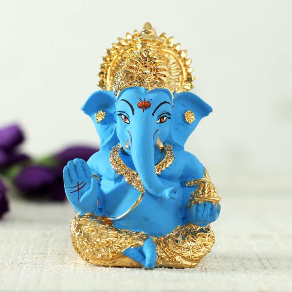 Blue And Gold Toned Ganesha Idol