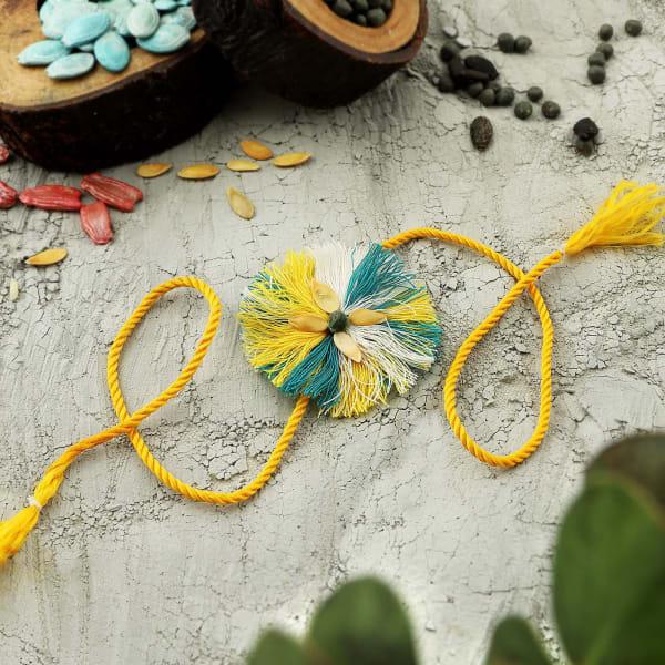 Blue And Yellow Seed Rakhi