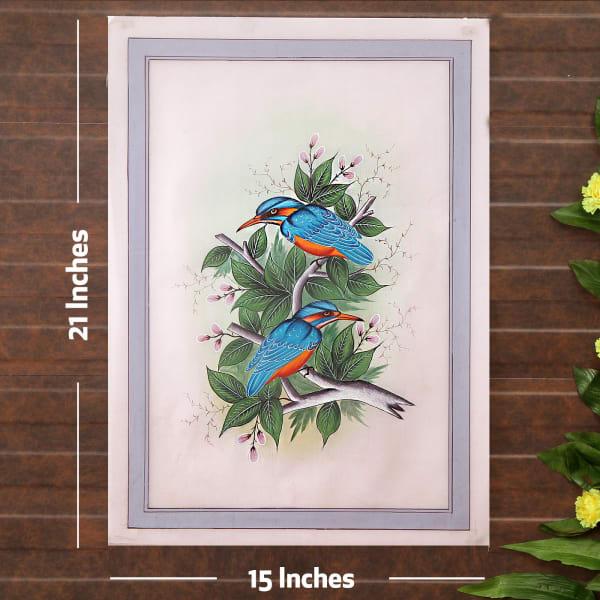 Blue Duo Bird Silk Painting