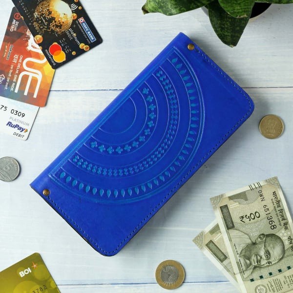 Blue Multi-use Leather Wallet