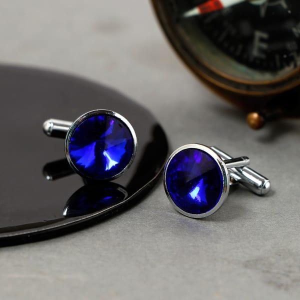 Blue Round Stone Men's Cufflinks
