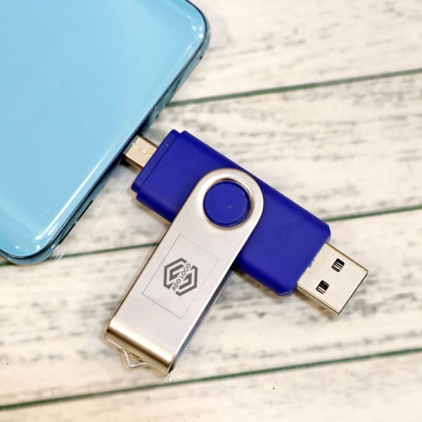Blue USB Pen Drive 12 GB - Customize With Logo