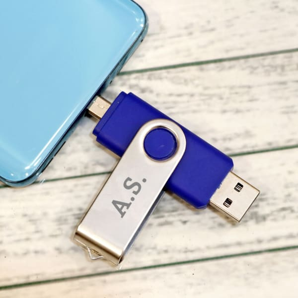 Blue USB Pen Drive 12 GB - Customize With Name