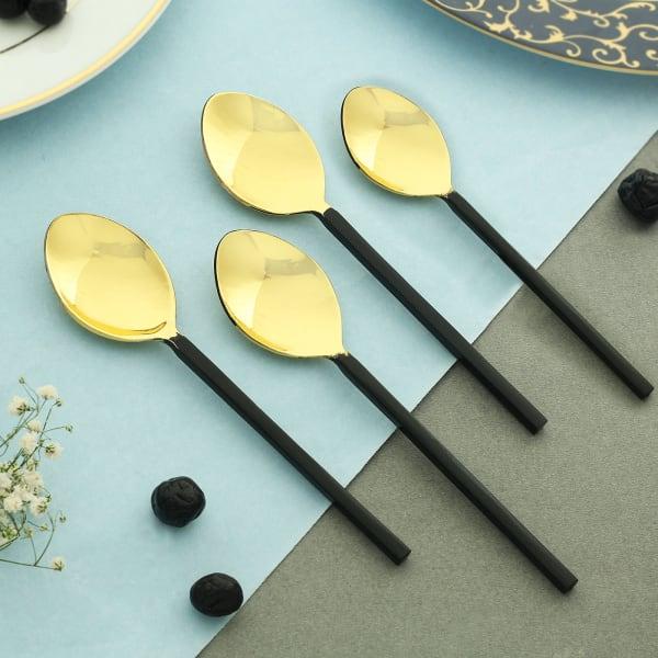 Bold Black Dessert Spoons (Set of 4)