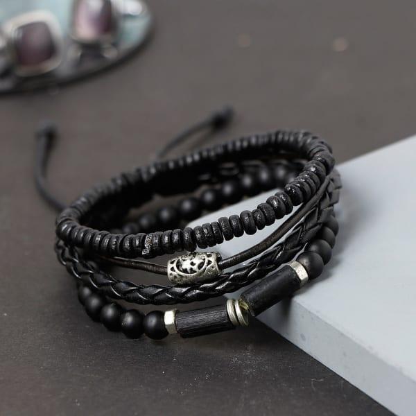 Bold Black Men's Bracelets (Set of 4)