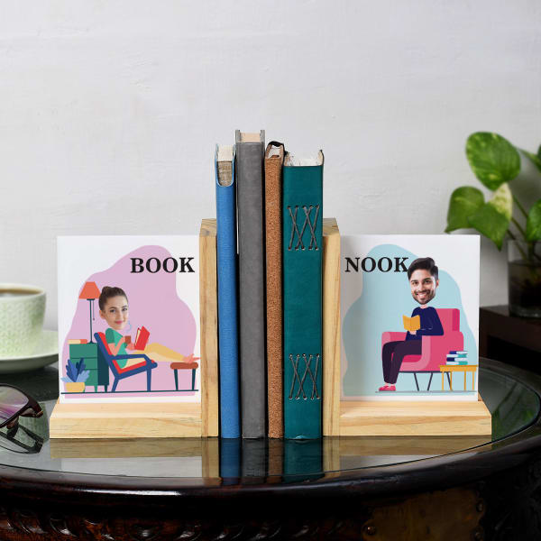 Book Nook Personalized Wooden Bookends