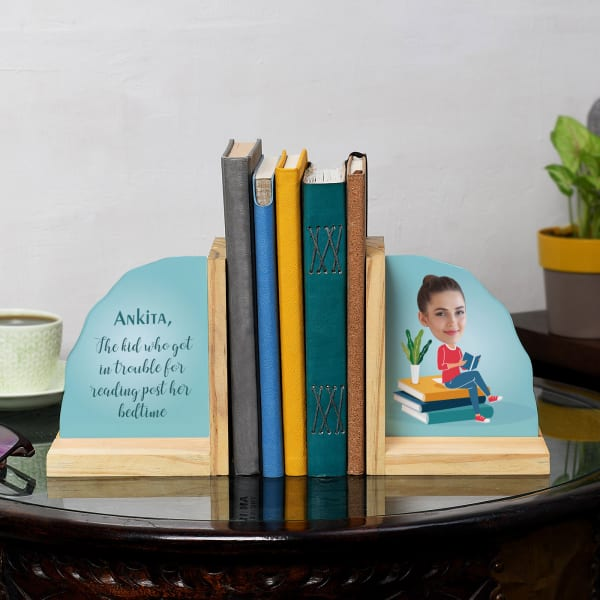 Bookworm Gal Personalized Wooden Bookends