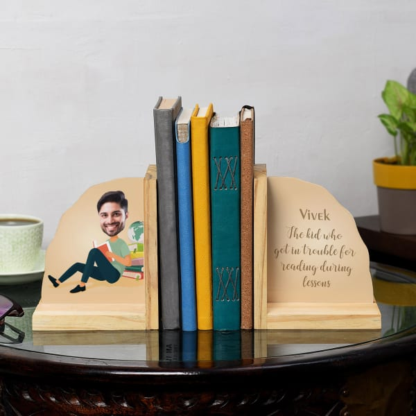 Bookworm Guy Personalized Wooden Bookends