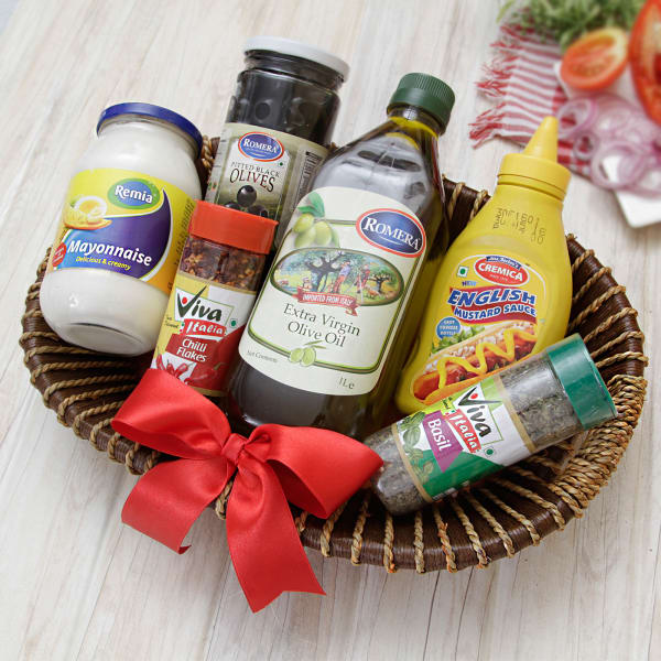 Bottle of Virgin Oil & Olives with Mayo & Mustard Sauce Hamper