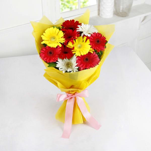 Bouquet of 10 Assorted Gerberas