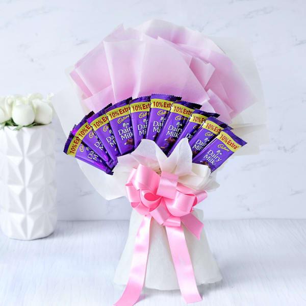 Bouquet of 10 Cadbury Dairy Milk Chocolates