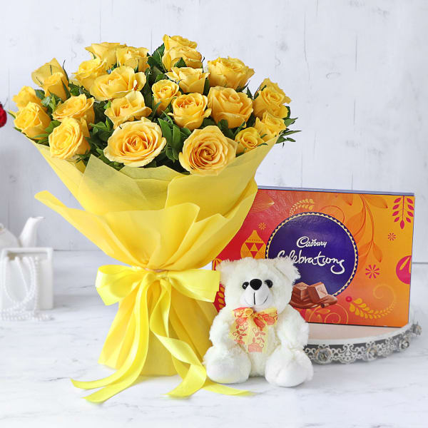 Bouquet of 25 Yellow Roses with Teddy & Cadbury Celebrations