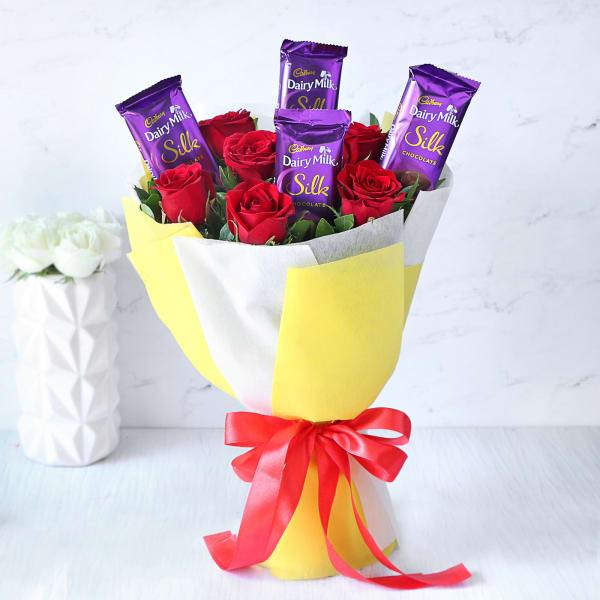 Bouquet of 4 Cadbury Silk & Red Roses
