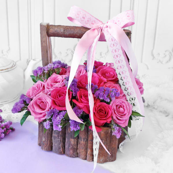 Bouquet of Assorted Roses in Wooden Basket