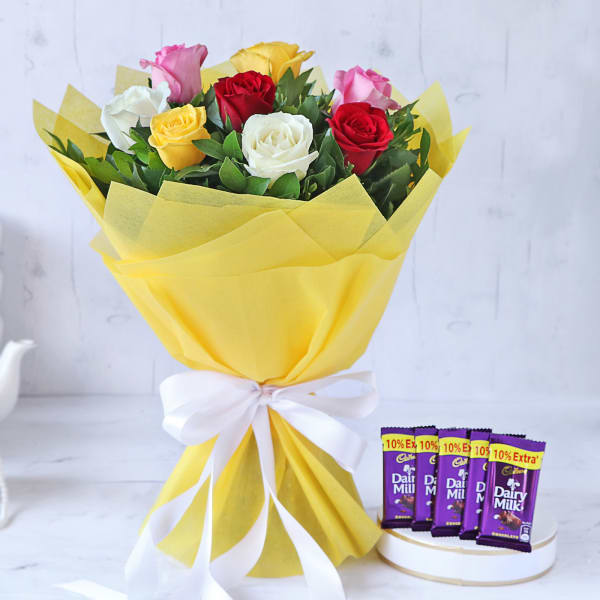 Bouquet of Assorted Roses with Chocolates