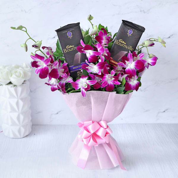 Bouquet of Orchids with 2 Cadbury Bournville