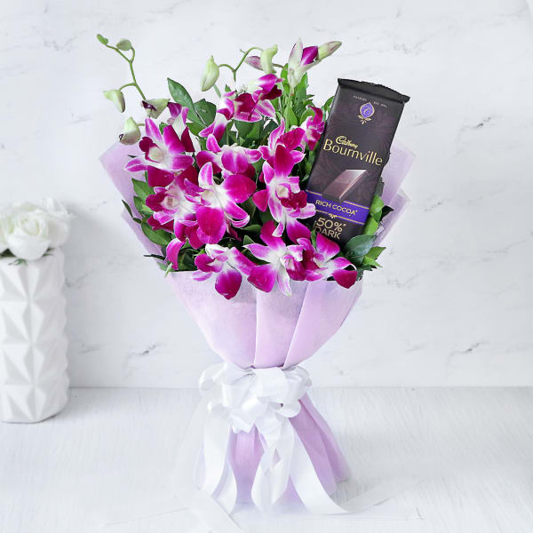 Bouquet of Orchids with Cadbury Bournville