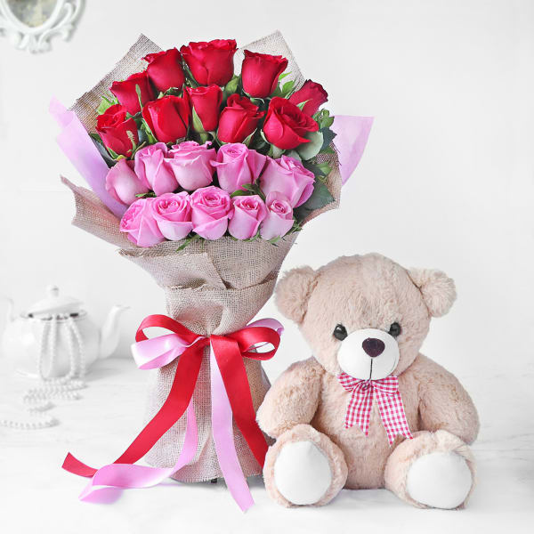 Bouquet of Red and Pink Roses with Teddy Bear