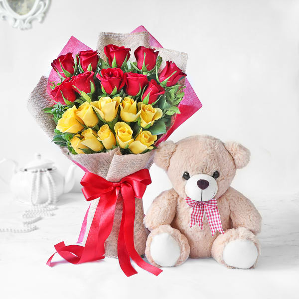 Bouquet of Red and Yellow Roses with Teddy Bear