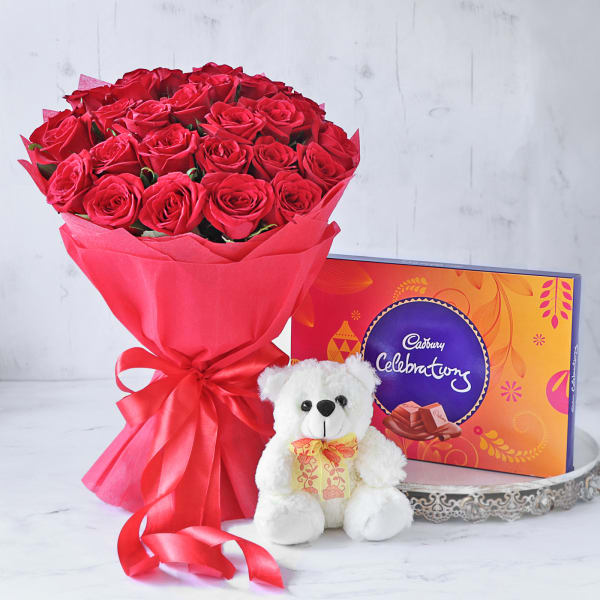 Bouquet of Red Roses with Cadbury Celebrations & Teddy Bear