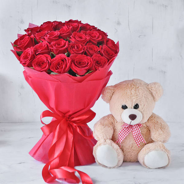 Bouquet of Red Roses with Teddy Bear